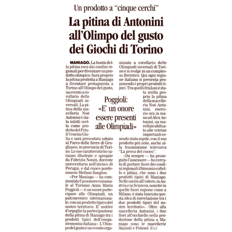 La pitina di Antonini all'Olimpo del gusto dei Giochi di Torino